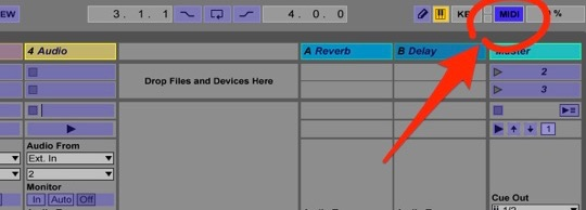 the midi activation button selected inside Ableton Live, all mappable controls displaying blue