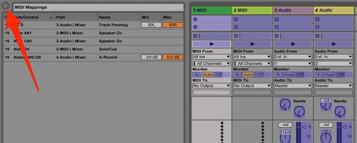 Ableton Live midi mapping browser, open and displaying a list of mappings