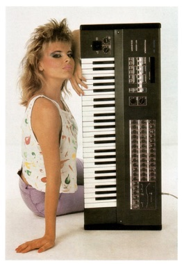 retro woman with midi keyboard