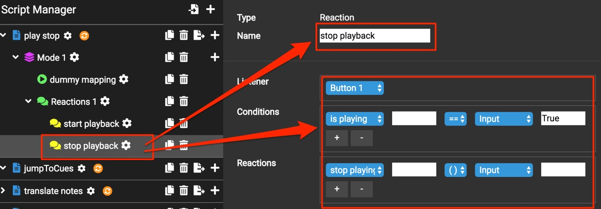 stop playback reaction