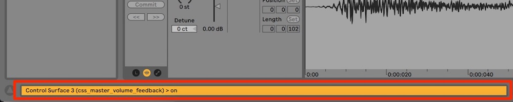 displaying custom message in ableton live status bar