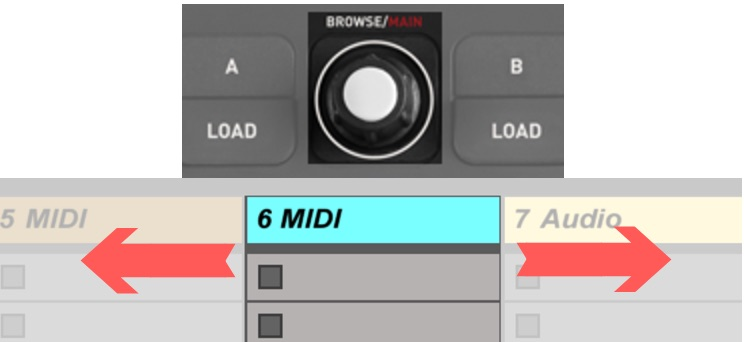 ableton track select with p32 dj browse encoder