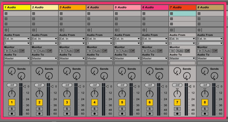 mixer control of 8 tracks in Ableton