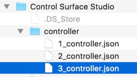File Browser displaying Controller json file