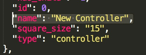 The Controller name inside the json file