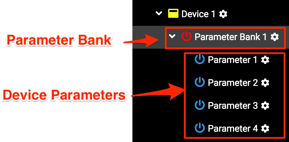 Parameter banks and Device Parameters